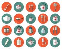 Geplaatst keukengerei en cookware vlak pictogrammen, kokende hulpmiddelen Royalty-vrije Stock Foto