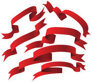 Geplaatst lint - Rood Stock Afbeelding