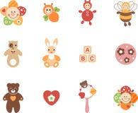 Geplaatst meisjesspeelgoed stock illustratie