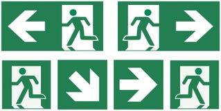 Geplaatst nooduitgangteken - pictogram vectorillustratie - stock illustratie