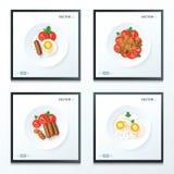 Geplaatst ontbijtvoedsel Stock Afbeeldingen