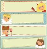 Geplaatst ontwerp: De Banners van jonge geitjeshalloween Royalty-vrije Stock Foto