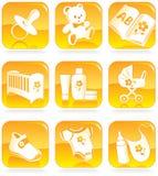Geplaatst pictogram - babygoederen, punten Stock Foto's