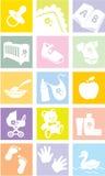 Geplaatst pictogram - babygoederen, punten Stock Afbeeldingen