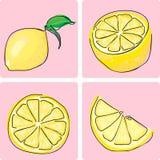 Geplaatst pictogram - citroen fruiit Royalty-vrije Stock Afbeelding