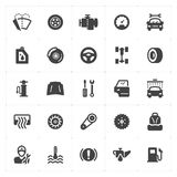Geplaatst pictogram - de garage en de auto vulden pictogram royalty-vrije illustratie