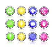 Geplaatst pictogram - ga groen, zon, eerste hulp, plus, daling Stock Fotografie