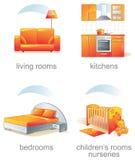 Geplaatst pictogram - het punt van het huismeubilair Royalty-vrije Stock Fotografie