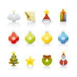 Geplaatst pictogram - Kerstmis Stock Afbeeldingen