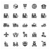 Geplaatst pictogram - logistisch en de levering vulde de vector van de pictogramstijl royalty-vrije illustratie