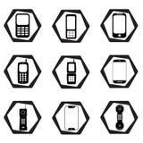 Geplaatst telefoonpictogram - bureau negen nobile telefoons stock illustratie