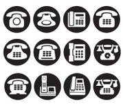Geplaatst telefoonpictogram - bureau negen nobile telefoons royalty-vrije illustratie