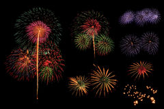 Geplaatst vuurwerk Stock Foto's