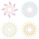 Geplaatst vuurwerk Vector illustratie Stock Afbeeldingen