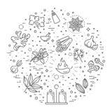 Geplaatst Webpictogram - kruiden, specerijen en kruiden Royalty-vrije Stock Fotografie
