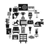 Geplaatste aanpassingspictogrammen, eenvoudige stijl Stock Foto's