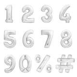 Geplaatste aantallen, hashtag, percenten Zilveren opblaasbare ballons Stock Foto