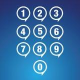 Geplaatste aantallen Vector illustratie Stock Foto