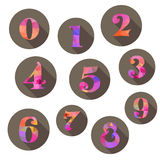 Geplaatste aantallenpictogrammen Stock Foto