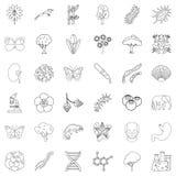 Geplaatste aard de pictogrammen, schetsen stijl stock illustratie