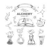 Geplaatste alchimiepictogrammen stock illustratie