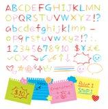 Geplaatste alfabetten van de kleurpotlood de hand getrokken stijl vector illustratie