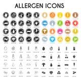Geplaatste allergeenpictogrammen royalty-vrije stock foto's