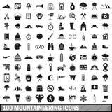 100 geplaatste alpinismepictogrammen, eenvoudige stijl Royalty-vrije Stock Fotografie