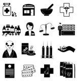 Geplaatste apotheekpictogrammen royalty-vrije illustratie