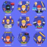 Geplaatste arbeiderspictogrammen Stock Afbeelding