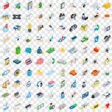 100 geplaatste artsenpictogrammen, isometrische 3d stijl Stock Foto's