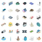 Geplaatste assemblagepictogrammen, isometrische stijl Royalty-vrije Stock Foto