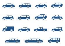 Geplaatste auto'spictogrammen Royalty-vrije Stock Afbeelding