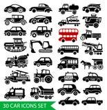 30 geplaatste autopictogrammen, zwart autowebpictogram Royalty-vrije Stock Foto