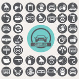 Geplaatste autowasserettepictogrammen Royalty-vrije Stock Afbeelding