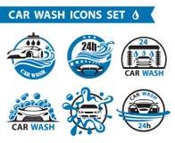 Geplaatste autowasserettepictogrammen stock illustratie