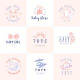 Geplaatste babyemblemen Stock Afbeeldingen