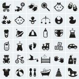 Geplaatste babypictogrammen. Vectorillustratie. Royalty-vrije Stock Afbeeldingen