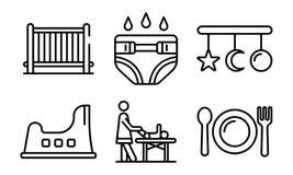Geplaatste babysitter de pictogrammen, schetsen stijl vector illustratie
