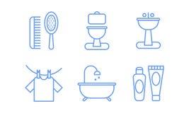 Geplaatste badkamerspictogrammen, hygiëne, vectorillustratie van lichaamsverzorging de lineaire symbolen op een witte achtergrond vector illustratie