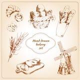 Geplaatste bakkerijhand getrokken pictogrammen Stock Foto's