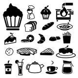 Geplaatste bakkerijpictogrammen Royalty-vrije Stock Foto's