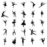 Geplaatste ballerinasilhouetten Royalty-vrije Stock Afbeeldingen