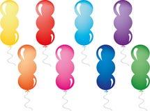 Geplaatste ballons Stock Foto's