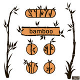 Geplaatste bamboepictogrammen en Kaders Royalty-vrije Stock Foto's