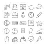 Geplaatste bankpictogrammen royalty-vrije illustratie