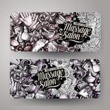 Geplaatste banners van de massage de hand getrokken krabbel Beeldverhaal gedetailleerde vliegers stock illustratie