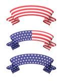Geplaatste banners van het ster de gestreepte lint vector illustratie