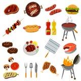 Geplaatste barbecuepictogrammen Stock Afbeelding