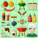 Geplaatste barbecuepictogrammen Royalty-vrije Stock Afbeeldingen